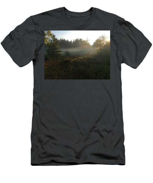 Men's T-Shirt (Slim Fit) featuring the photograph Mist In The Meadow by Pat Purdy