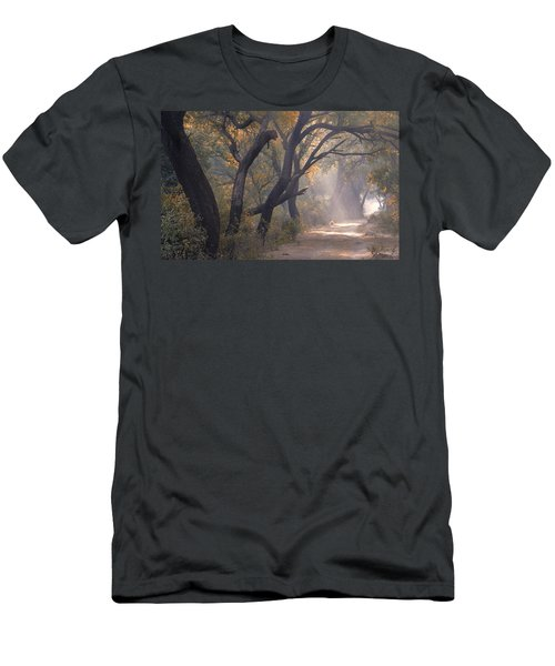Men's T-Shirt (Athletic Fit) featuring the photograph Misty Morning, Bharatpur, 2005 by Hitendra SINKAR