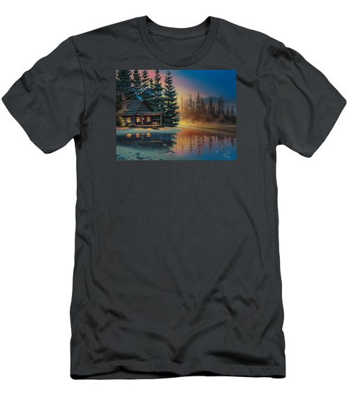 Men's T-Shirt (Slim Fit) featuring the painting Misty Refection by Al Hogue