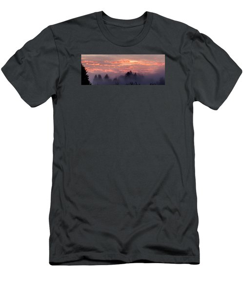 Men's T-Shirt (Slim Fit) featuring the photograph Misty Sunrise Panorama by E Faithe Lester