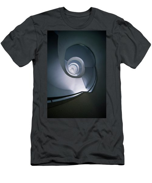 Modern Blue Spiral Staircase Men's T-Shirt (Slim Fit) by Jaroslaw Blaminsky
