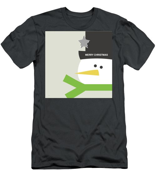 Men's T-Shirt (Athletic Fit) featuring the digital art Modern Snowman Merry Christmas- Art By Linda Woods by Linda Woods
