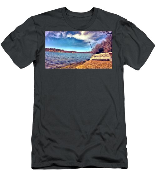 Men's T-Shirt (Athletic Fit) featuring the painting Mohegan Lake Lonely Boat by Derek Gedney