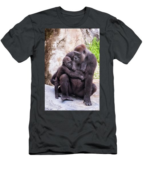 Mom And Baby Gorilla Sitting Men's T-Shirt (Slim Fit) by Stephanie Hayes