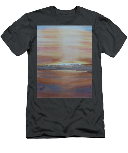 Men's T-Shirt (Athletic Fit) featuring the painting Moment By The Lake by Joel Deutsch