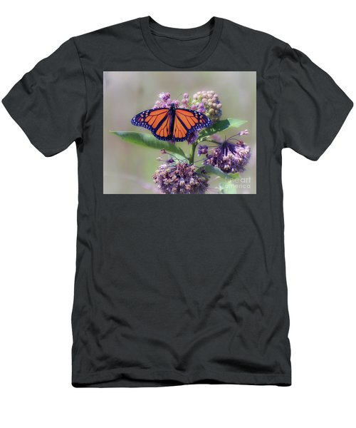 Men's T-Shirt (Athletic Fit) featuring the photograph Monarch On The Milkweed by Kerri Farley