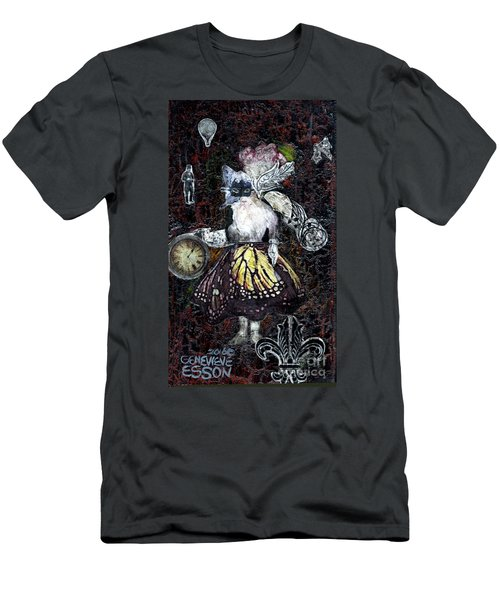 Men's T-Shirt (Slim Fit) featuring the mixed media Monarch Steampunk Goddess by Genevieve Esson