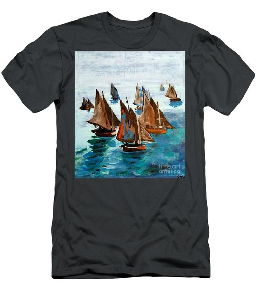 Monet Fishing Boats Calm Seas Men's T-Shirt (Athletic Fit)