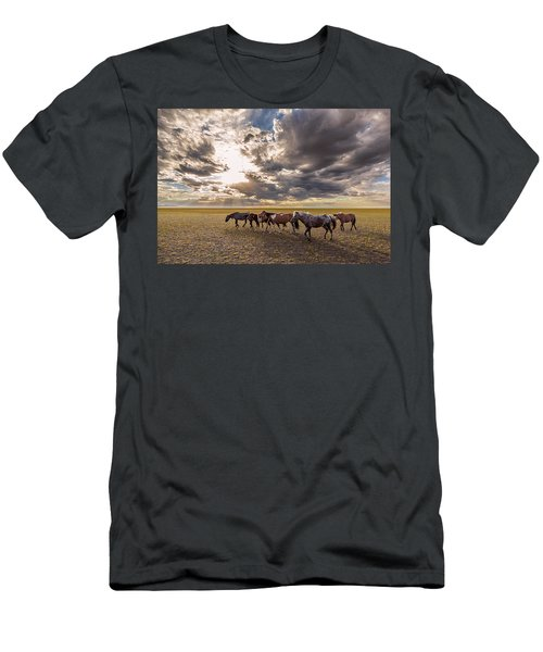 Men's T-Shirt (Athletic Fit) featuring the photograph Mongolian Horses by Hitendra SINKAR