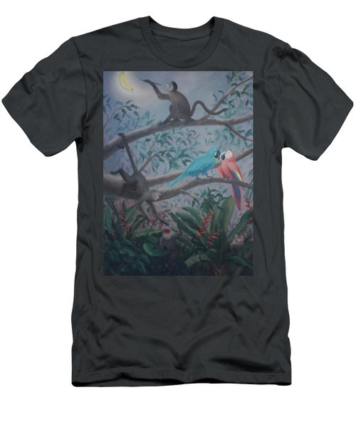 Monkey Artist Painting The Moon  Men's T-Shirt (Athletic Fit)