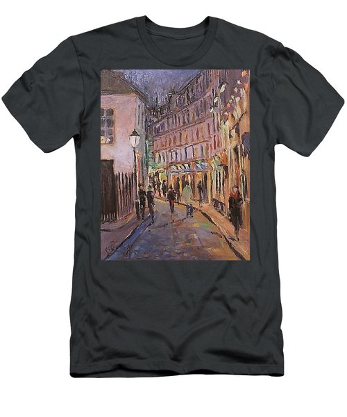 Men's T-Shirt (Slim Fit) featuring the painting Monmartre by Walter Casaravilla