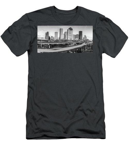 Monochrome Panorama Of Downtown Houston Skyline From Buffalo Bayou Park - Harris County Houston Texa Men's T-Shirt (Athletic Fit)