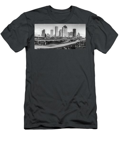 Monochrome Panorama Of Downtown Houston Skyline From Buffalo Bayou Park - Harris County Houston Texa Men's T-Shirt (Athletic Fit)