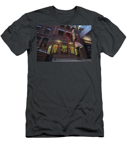 Men's T-Shirt (Slim Fit) featuring the photograph Monroe St Steakhouse by Nicholas Grunas