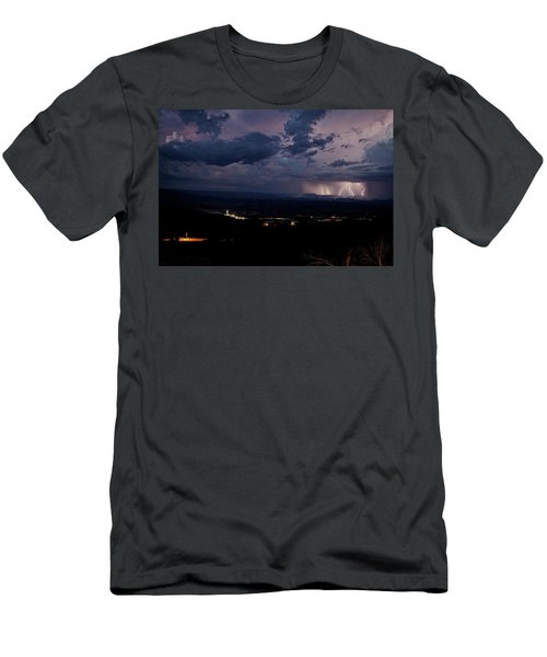 Men's T-Shirt (Slim Fit) featuring the photograph Monsoon Lightning Over Sedona From Jerome Az by Ron Chilston