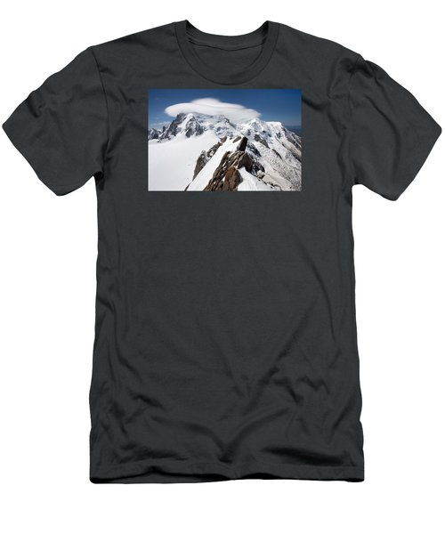 Mont Blanc And Ufo Men's T-Shirt (Slim Fit) by Aivar Mikko