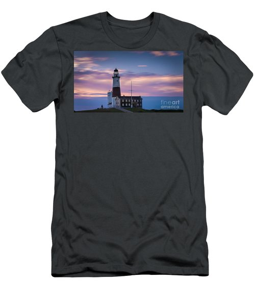 Montauk Lighthousepastel  Sunrise Men's T-Shirt (Athletic Fit)