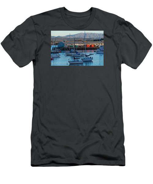 Monterey Wharf At Sunset Men's T-Shirt (Slim Fit) by Derek Dean