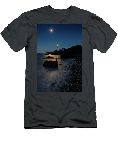 Men's T-Shirt (Slim Fit) featuring the photograph Moon Light Over The Lighthouse  by Emmanuel Panagiotakis