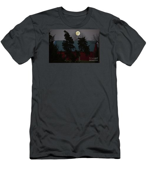 Moon Over A Kansas Barn Men's T-Shirt (Slim Fit) by Mark McReynolds