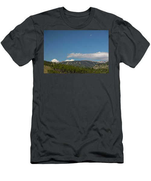 Men's T-Shirt (Athletic Fit) featuring the photograph Moon Over Eldora Summer Season Ski Slopes by James BO Insogna