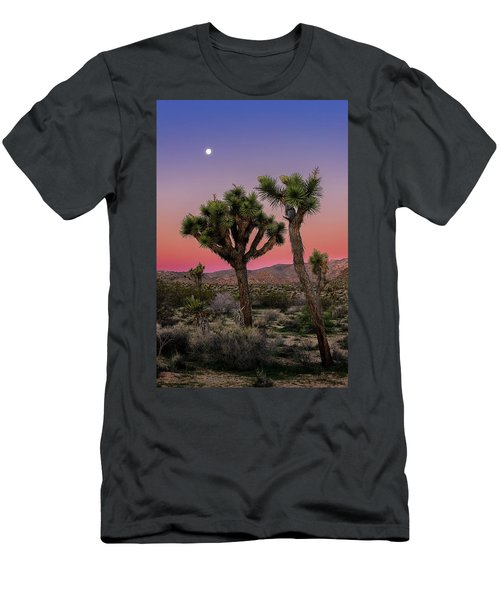 Men's T-Shirt (Athletic Fit) featuring the photograph Moon Over Joshua Tree by John Hight