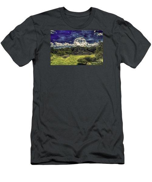 Moon Over Mayan Temple Two Men's T-Shirt (Slim Fit) by Ken Frischkorn
