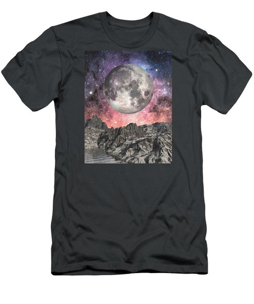 Men's T-Shirt (Slim Fit) featuring the digital art Moon Over Mountain Lake by Phil Perkins