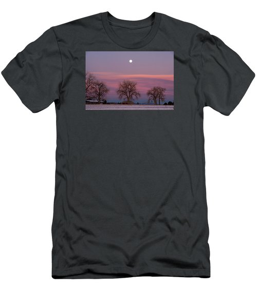 Moon Over Pink Llouds Men's T-Shirt (Athletic Fit)