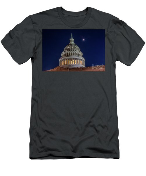 Moon Over The Washington Capitol Building Men's T-Shirt (Athletic Fit)