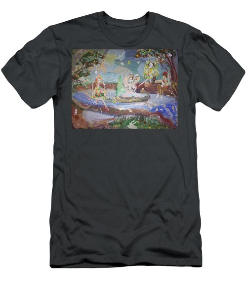 Men's T-Shirt (Slim Fit) featuring the painting Moon River Fairies by Judith Desrosiers