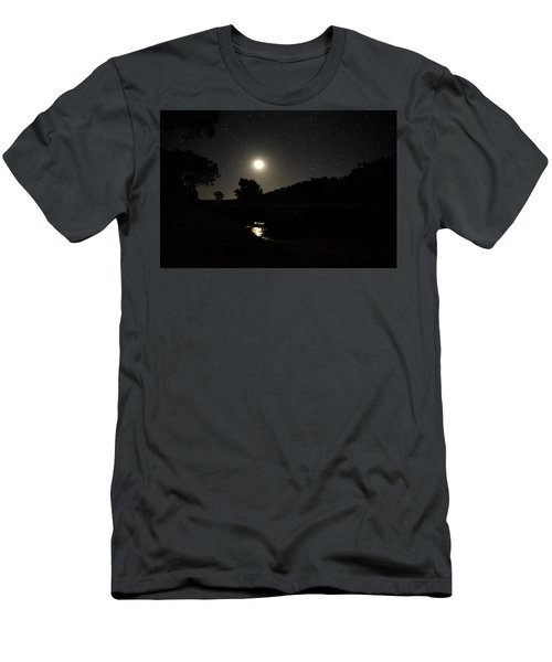 Moon Set Over Palm Valley 2 Men's T-Shirt (Slim Fit) by Paul Svensen