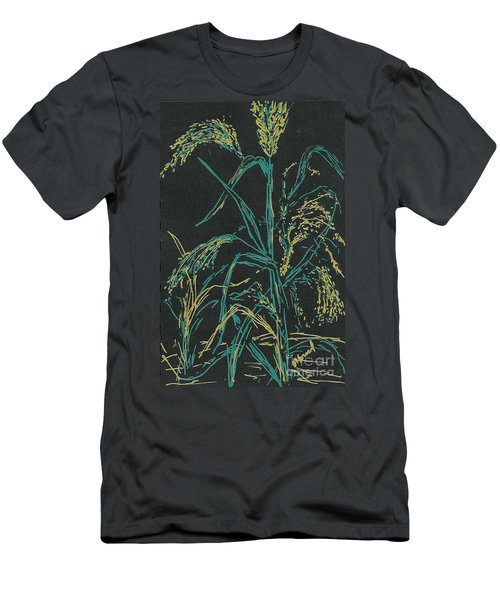 Men's T-Shirt (Slim Fit) featuring the mixed media Moonlight Wheat by Vicki  Housel