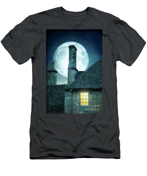 Moonlit Rooftops And Window Light  Men's T-Shirt (Slim Fit) by Lee Avison