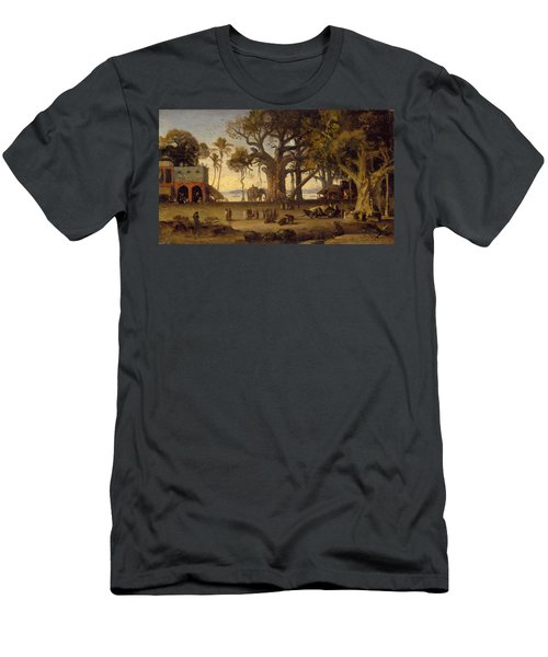 Moonlit Scene Of Indian Figures And Elephants Among Banyan Trees Men's T-Shirt (Athletic Fit)