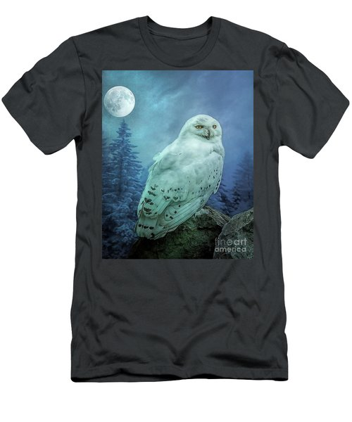 Moonlit Snowy Owl Men's T-Shirt (Athletic Fit)