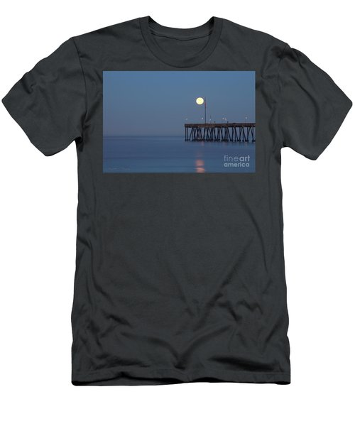 Men's T-Shirt (Slim Fit) featuring the photograph Moonset At The Ventura Pier by John A Rodriguez