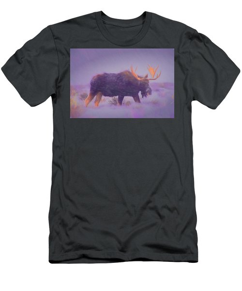 Moose In A Blizzard Men's T-Shirt (Athletic Fit)