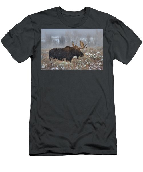Men's T-Shirt (Slim Fit) featuring the photograph Moose In The Fog by Adam Jewell
