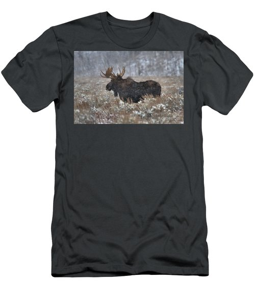Men's T-Shirt (Slim Fit) featuring the photograph Moose In The Snowy Brush by Adam Jewell