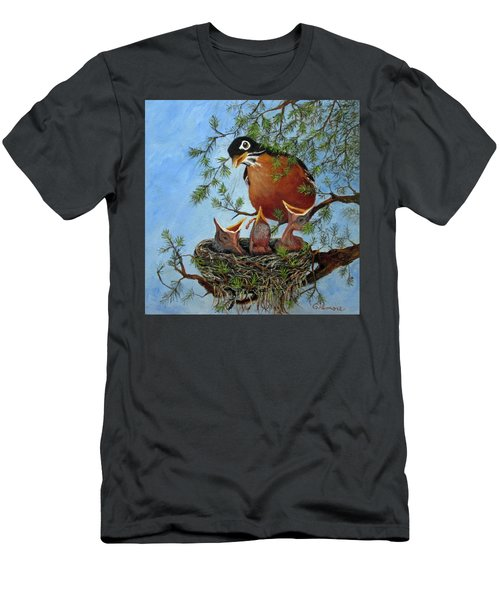 Men's T-Shirt (Slim Fit) featuring the painting More Food by Roseann Gilmore
