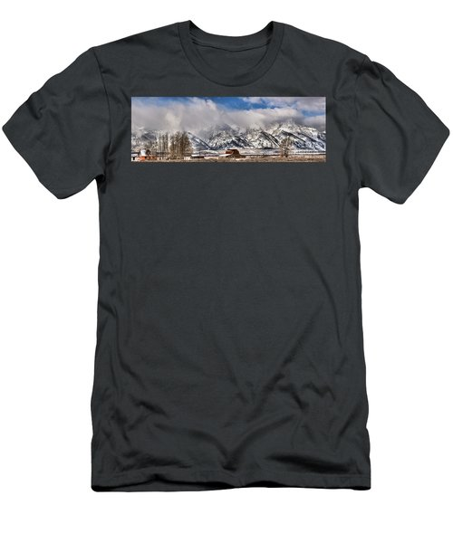 Men's T-Shirt (Slim Fit) featuring the photograph Mormon Row Early Winter Panorama by Adam Jewell