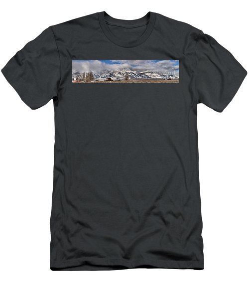 Men's T-Shirt (Slim Fit) featuring the photograph Mormon Row Snowy Extended Panorama by Adam Jewell