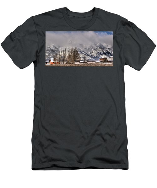 Men's T-Shirt (Slim Fit) featuring the photograph Mormon Row Winter Morning Panorama by Adam Jewell