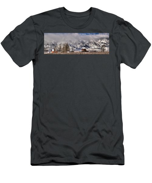Men's T-Shirt (Slim Fit) featuring the photograph Mormon Row Winter Panorama by Adam Jewell