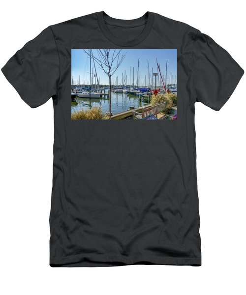 Men's T-Shirt (Athletic Fit) featuring the photograph Morning At The Marina by Charles Kraus