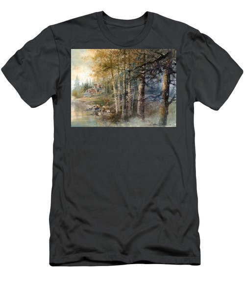 Men's T-Shirt (Athletic Fit) featuring the painting Morning River by Andrew King