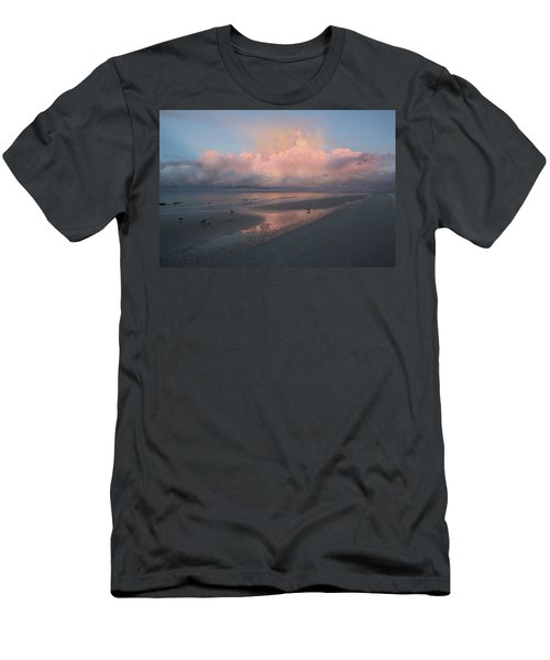 Men's T-Shirt (Athletic Fit) featuring the photograph Morning Walk On The Beach by Kim Hojnacki