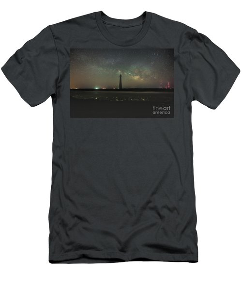 Morris Island Light House Milky Way Men's T-Shirt (Athletic Fit)