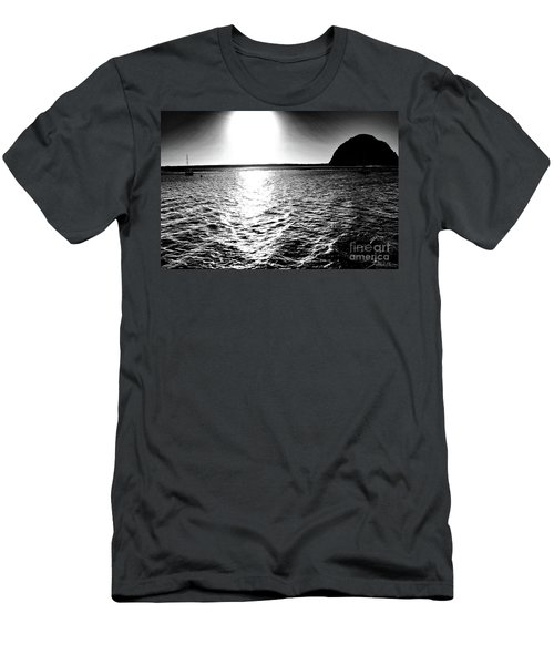 Morro Rock, Black And White Men's T-Shirt (Athletic Fit)